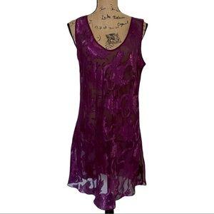 Vintage Victoria's Secret Gold Label Purple Metallic Leaf Print Slip Dress Large